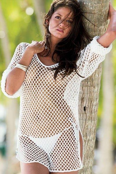 Carla Ossa in white seethrough dress