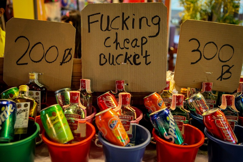 Alcohol buckets at Full Moon Party Thailand