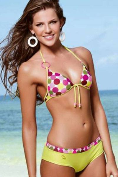 Maria Cristina Diaz-Granados wearing colorful polka dot bikini