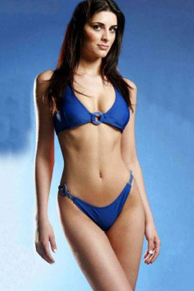 Rafaela Zanella in blue two-piece swimsuit