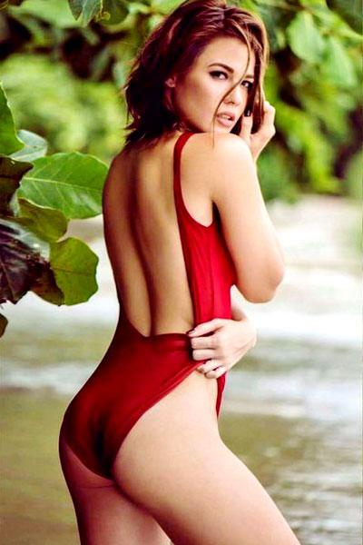 Valeen in her sensual red swimsuit