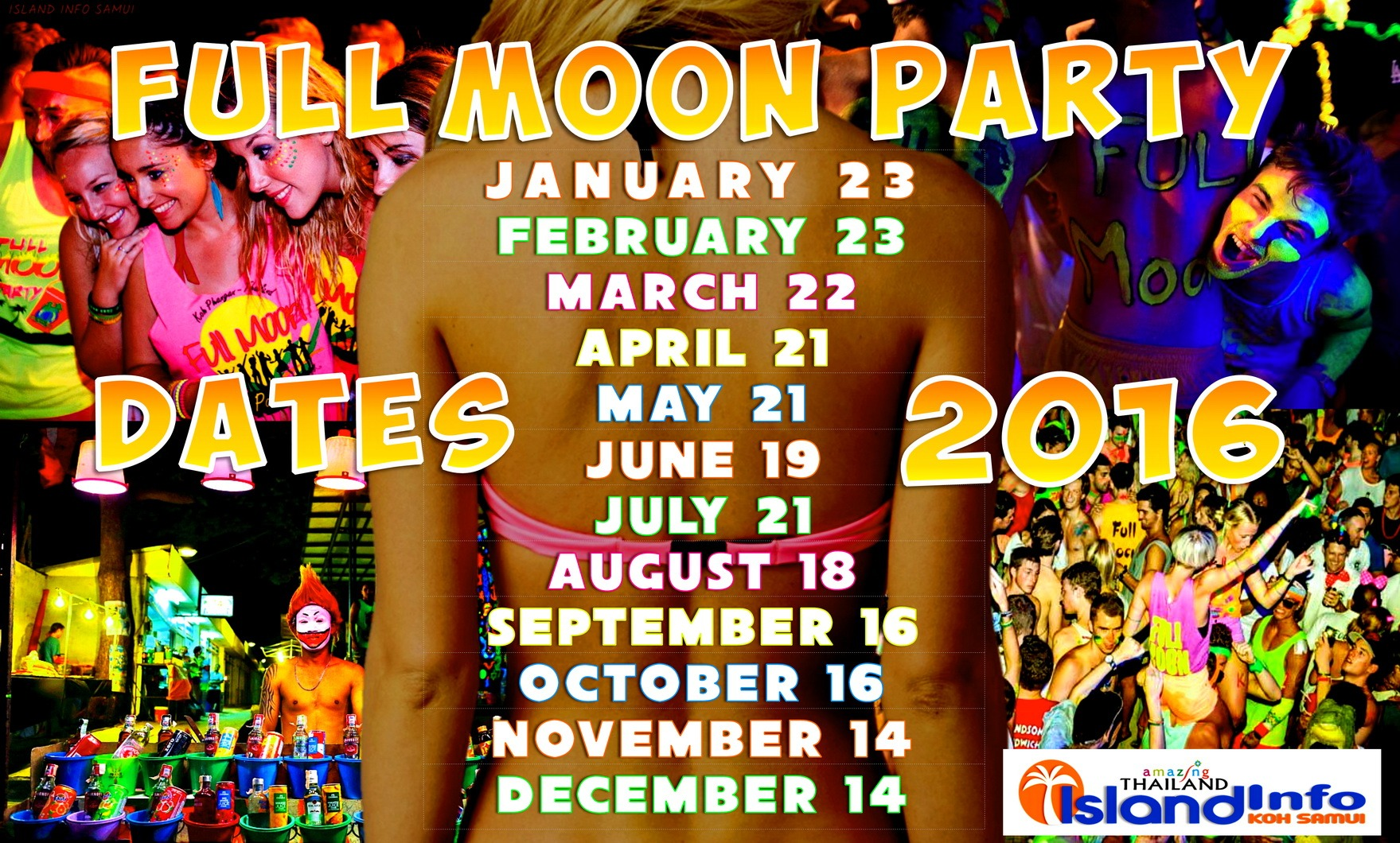 2016 Full Moon Party Schedule