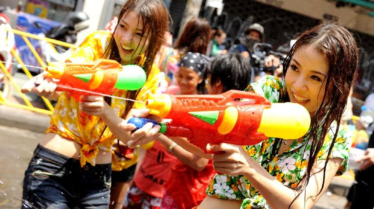 wet and wild hot girls in Songkran Fest