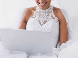 bride in front of laptop