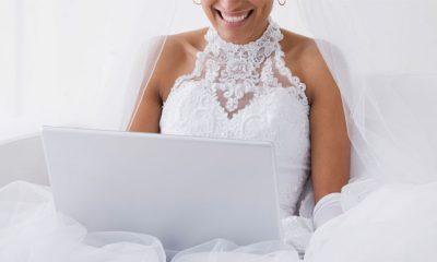bride in front of laptop