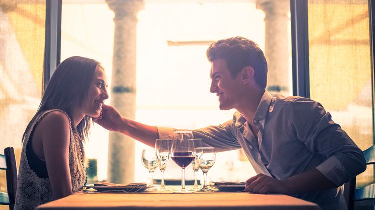 cute couple smiling on a date