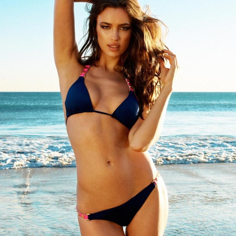 Irina Shayk in 2 piece bikini at the beach