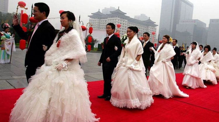 a mass wedding ceremony at China