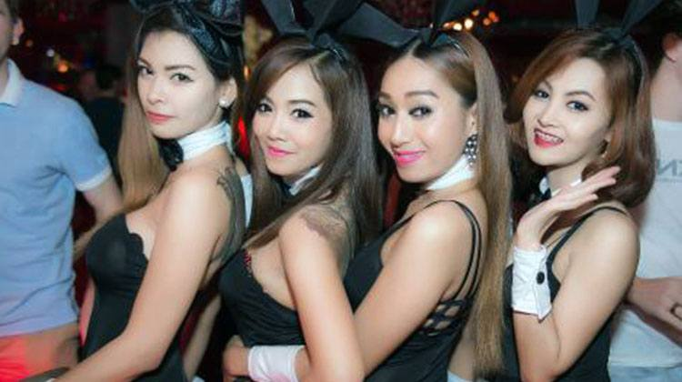 Asian bar girls with a cute costume