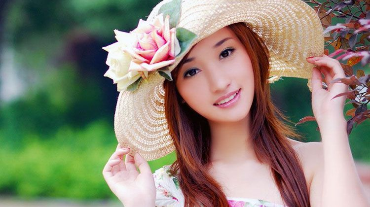 cute Chinese girl wearing hat