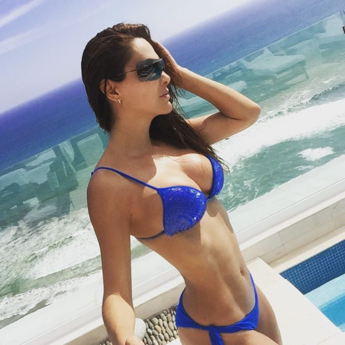 Ninel Conde looking hot in blue swimwear
