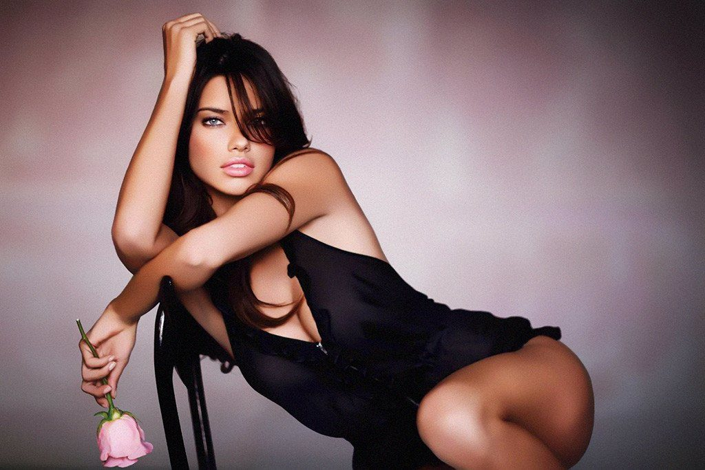 Adriana Lima holding a pink rose