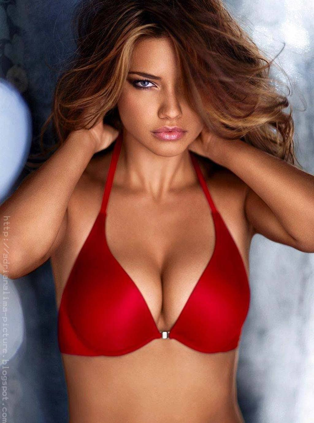 Adriana Lima hot in red bikini