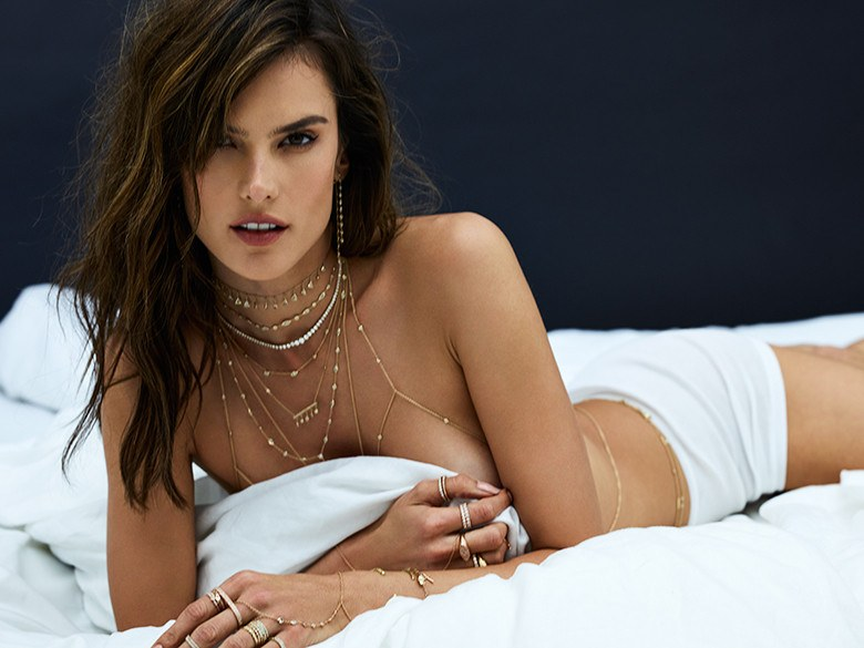 Alessandra Ambrosio hot on the bed