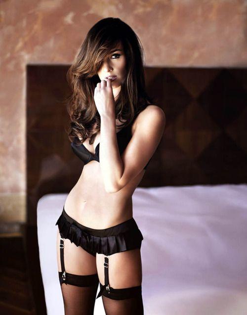 Paz Vega sexy in black lingerie