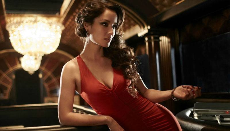 pretty Ukraine girl in a slinky red dress
