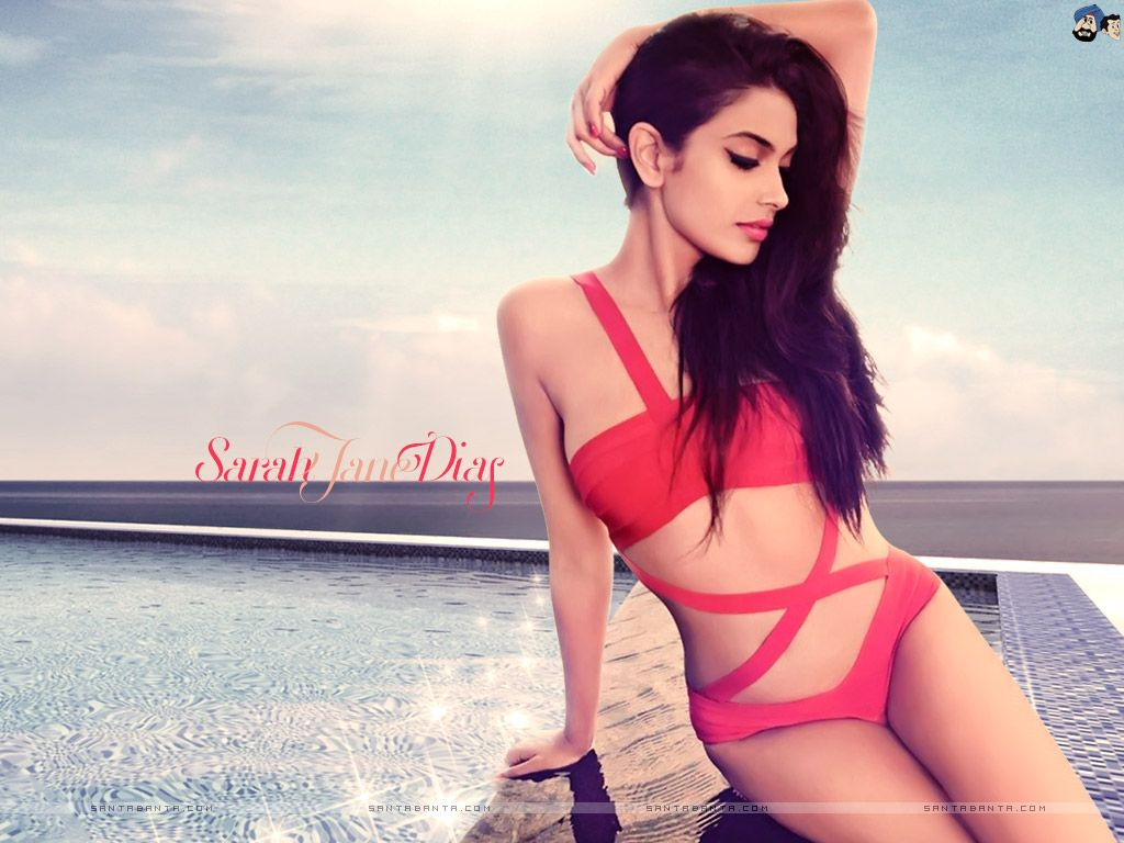 Sarah Jane Dias hot red bikini