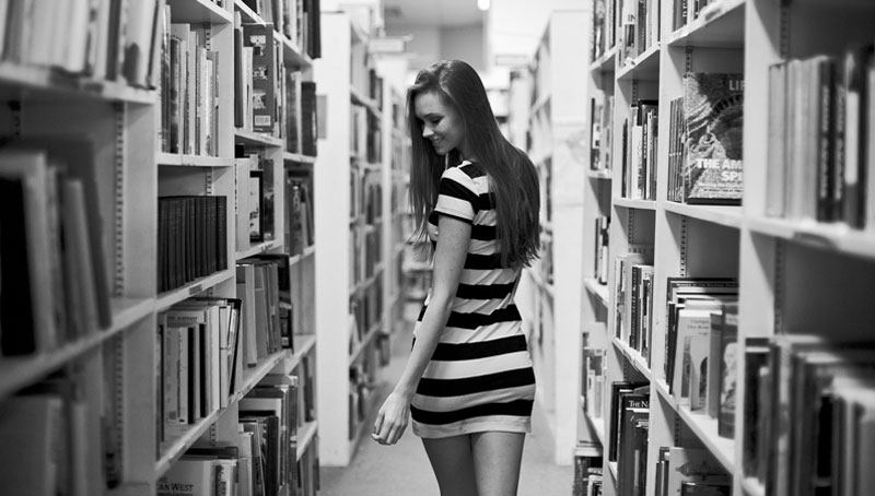 sexy Russian woman in the library