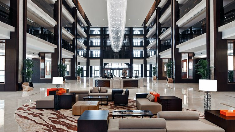 a nice lobby at the Marriott hotel in China