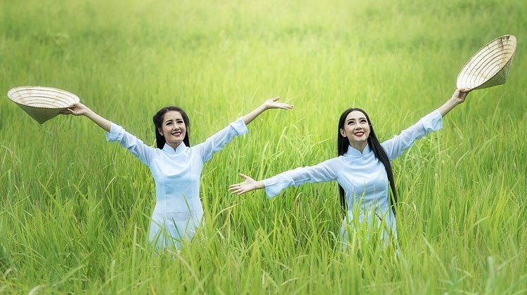 happy and excited Vietnamese women