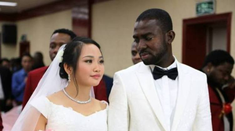 asian girl and black guy wedding