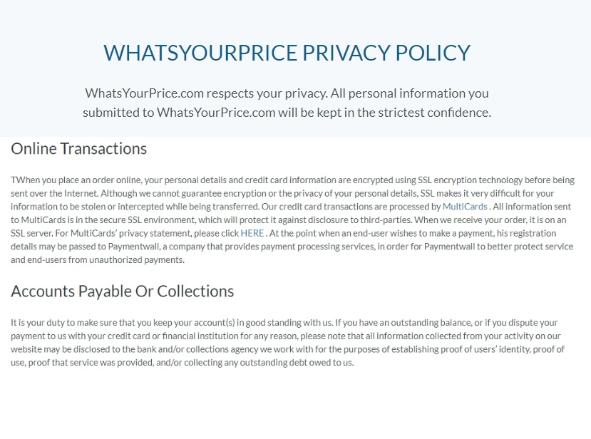 whats your price privacy policy