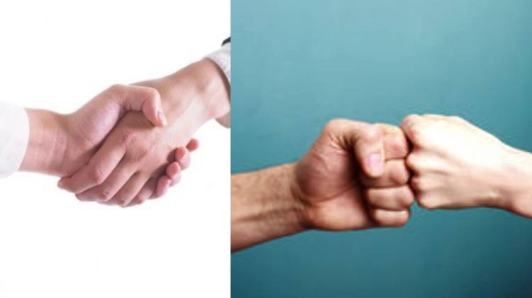 handshake and fistbump
