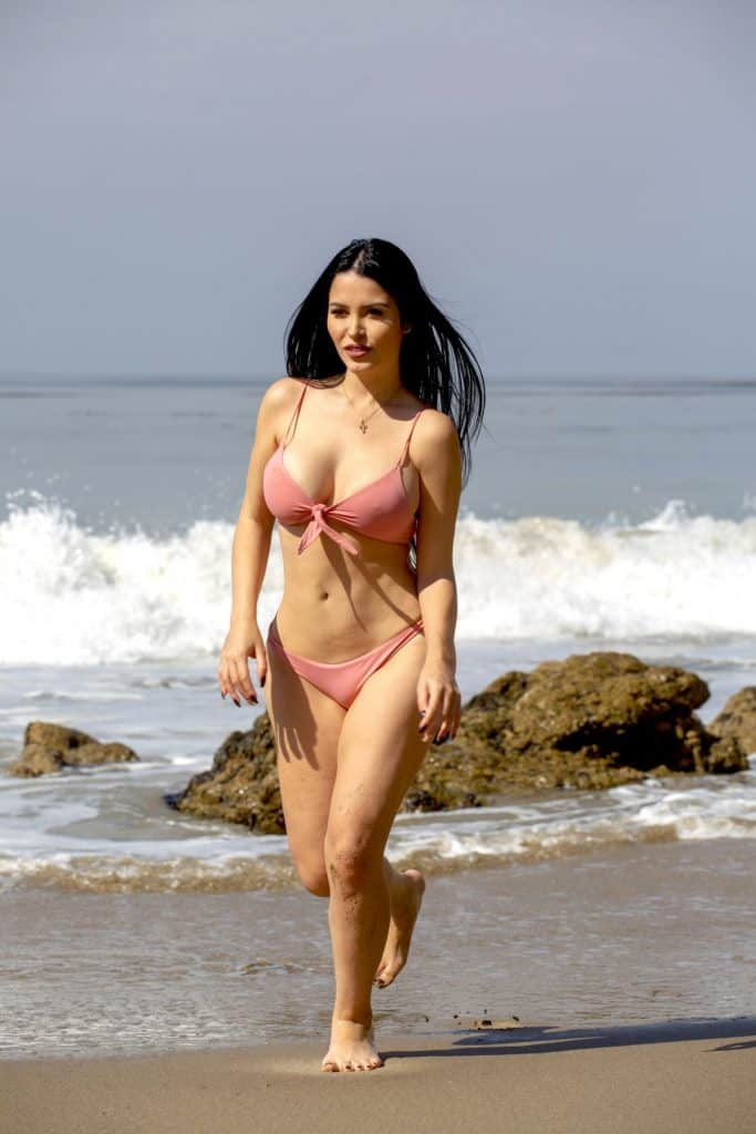Claudia Alende sexy bikini at a Malibu beach