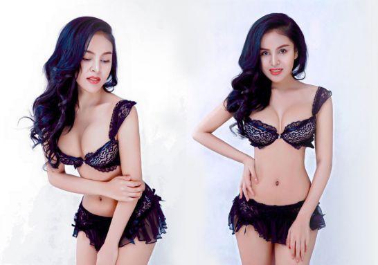 Denny Kwan in black laced bikini lingerie