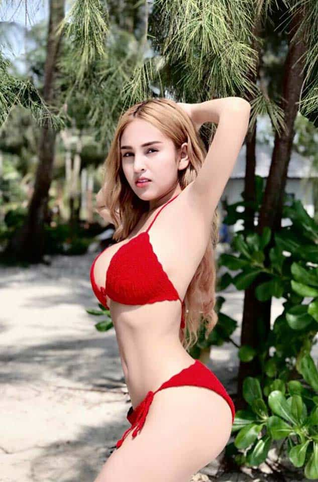 Denny Kwan sizzling in red 2 piece bikini