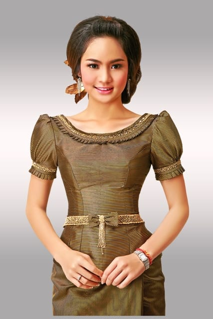 Sok Somavatey in a traditional Cambodian dress