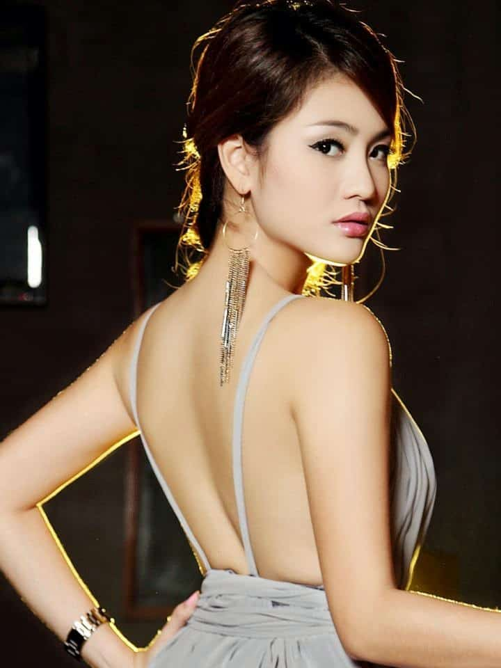Sok Somavatey wearing a backless dress