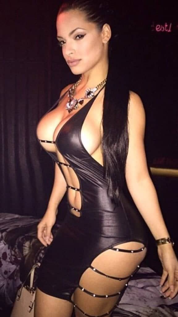 Dayami Padron barely a black leather dress