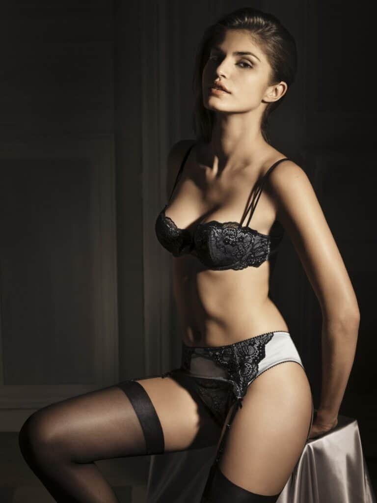 Juliana Martins wearing black and white bikini lingerie